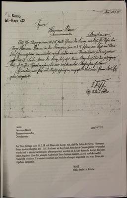 Brief / Verletzungsbericht an Vater von Hermann Baum