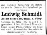 Todesanzeige Ludwig Schmitt