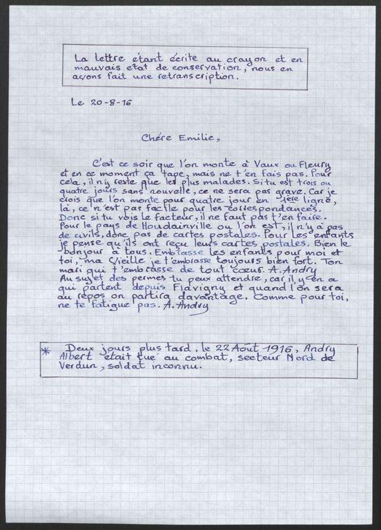 europeana 1914 1918 frbdic 016 documents relatifs au d 233 c 232 s du soldat albert andry 346e ri