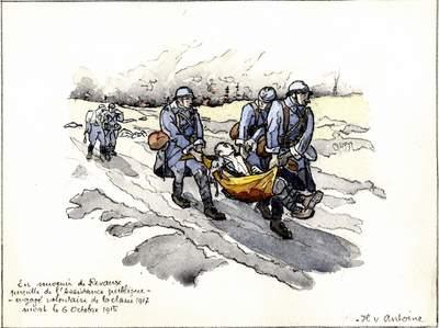 """Aquarelle """"En souvenir de Révaux, pupille de l'assistance publique, engagé volontaire de la classe 1917, mort le 6 octobre 1915"""" (1915)."""