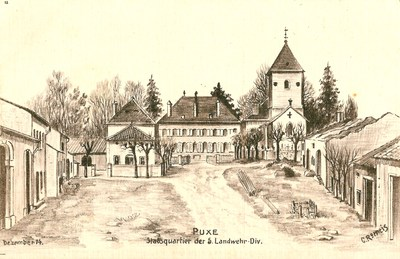 10.420 Künstlerpostkarte, Schloss Puxe, Stabsquartier 5. Landwehr-Division, Dezember 1914.jpg