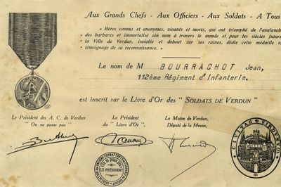 Inscription de Jean-Joseph BOURRACHOT sur le livre d'or des soldats de Verdun
