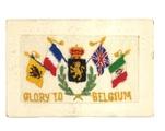 """Zijden postkaart """"Glory to Belgium"""" naar het Vluchtoord Uden"""