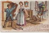 """Postkarte mit Zeichnung """"Ein [...] Mädchen"""""""