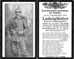 Andenken Ludwig Weber, Ökonom aus Mantelkirchen (Sterbebild)
