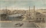 Feldpostkarte - colorierte Ansicht der Gasanstalten in Lodz