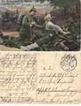 Feldpostkarte - Propagandamotiv eines sterbenden Soldaten
