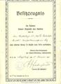 Verleihungsurkunde EK 2 an Oberstabsarzt Max Westenhöfer
