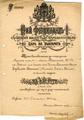 Urkunde bulgarische Verdienstmedaille - Zar Ferdinand I von Bulgarien