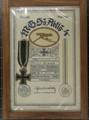 Eisernes Kreuz mit Urkunde von Fritz Braun