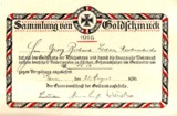 Urkunde für die Sammlung von Goldschmuck, 1916