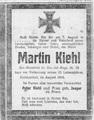 Todesanzeige - Martin Kiehl