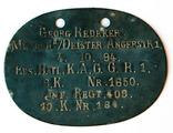 Erkennungsmarke Georg Redeker