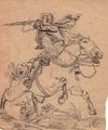 Zeichnung eines Husaren im Kampf