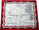 Tuch mit der Karte des dt.-frz. Kriegsschauplatz 1914