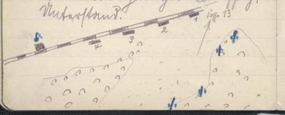 "Handskizze der Feuerstellung ""Fosse 13"" bei Wingles in Flandern"