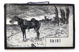 Zeichnung mit verwaistem Kriegspferd