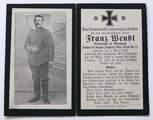 Franz Wendl Sterbebild u. 2 Briefe