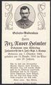 Sterbebild von Franz Xaver Heimler