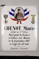 Gedenkplakette an Maurice Chenot, soldat du 5e Génie. Mit Foto