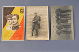 Cartes postales belges montrant soldats, dégâts à Ypres et cartes de propagande
