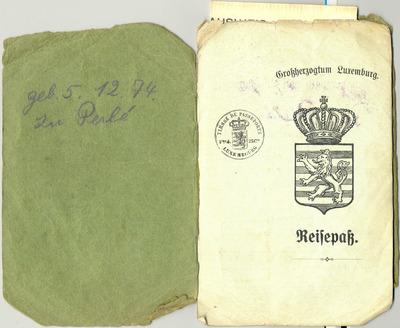Passeports ayant appartenu à Jean-Baptiste Gratia, ingénieur luxembourgeois