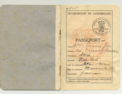 Passeport de Marcelline Pansin, 1919