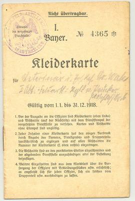 "Armée prussienne - ticket d'habillement (""Kleiderkarte"")"