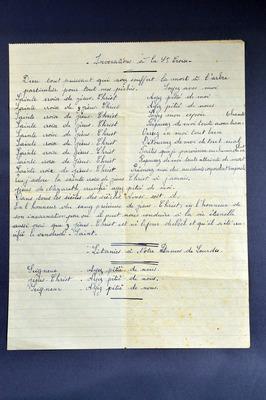Feuille de prière manuscrite - Albert Pansin