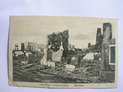 Feldpostkarte von der Kriegsfront in Frankreich