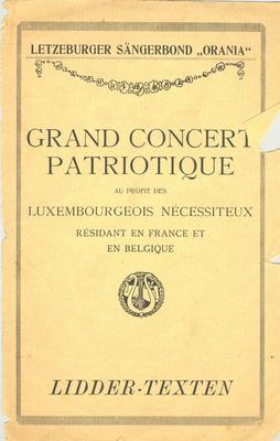 Programmes de concerts de bienfaisance à Luxembourg et Paris