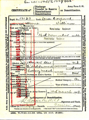 Discharge certificate for William Hunt