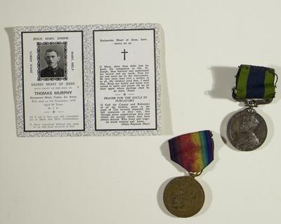 Medals and memorial card of Thomas Murphy