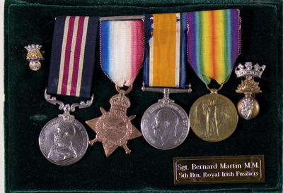 Memorabilia of Sgt. Bernard Martin, Royal Irish Fusiliers, 5th Battalion
