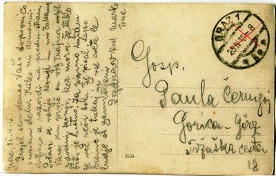 Razglednica za sestro Pavlo (hrbtna stran)