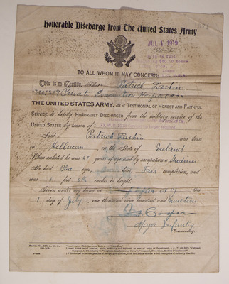 Discharge papers for Patrick Larkin, Irish member of US army