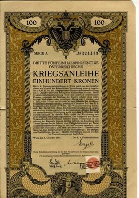 Državni certifikat v vrednosti 100 kron - naslovna stran