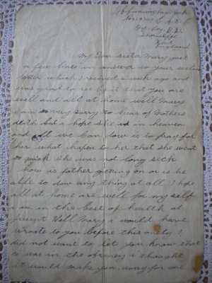Letter of John Cunningham to Mary Cunningham