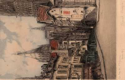 My grandfather Arthur James Hogan's etching of La Rue de L'Epicerie, Rouen, France.