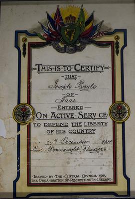 Service certificate of Joseph Boyle of Naas