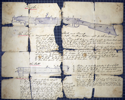 Handwritten instructions and drawings on the use of a rifle, probably in the hand of Sylvester Foran