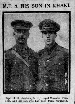 Captain DD Sheehan MP and son, both Royal Munster Fusiliers