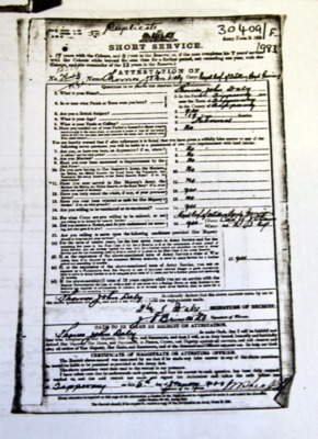 Copies of documentation pertaining to war career of Thomas John Daly of Tipperary Town
