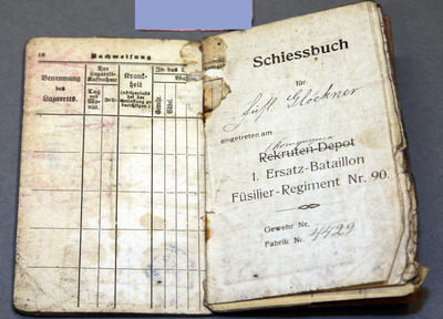 Army passport and card of Fritz Glockner, found in the possession of FA McDonnell