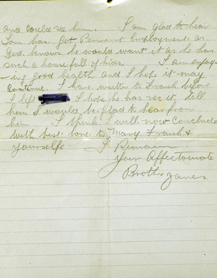 Letters from James Murtagh to his half brother