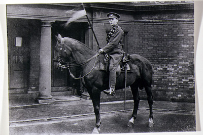 Photograph of Fred Tackaberry, Royal Irish Fusiliers, on horseback in Templemore Barracks