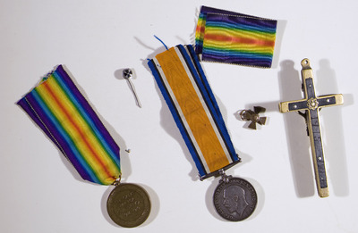 Reverse of medals and crucifix