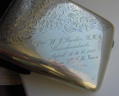 Silver cigarette case given to my grandfather, Walter Barber