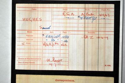 Service details for Samuel Hughes