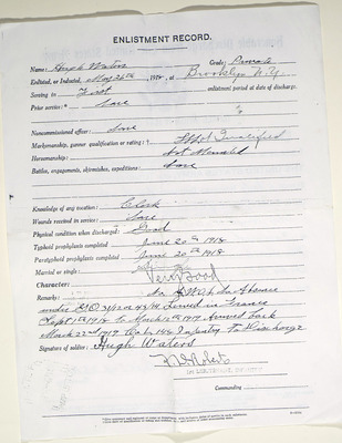Honorable discharge papers of Hugh Waters